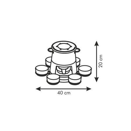Tescoma - TE707006 - Fondue pan - 2 schalen - RVS en keramiek