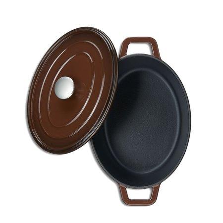 "MOA Kustaa gietijzeren casserole pan 29cm ovaal ""Brown"""