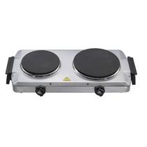 Lentz dubbele kookplaat - zilver - 1000 en 1500 Watt