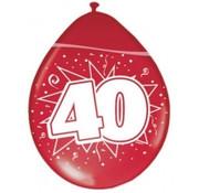 Verjaardag Ballonnen 40 Jaar - Metallic robijn - 8 stuks