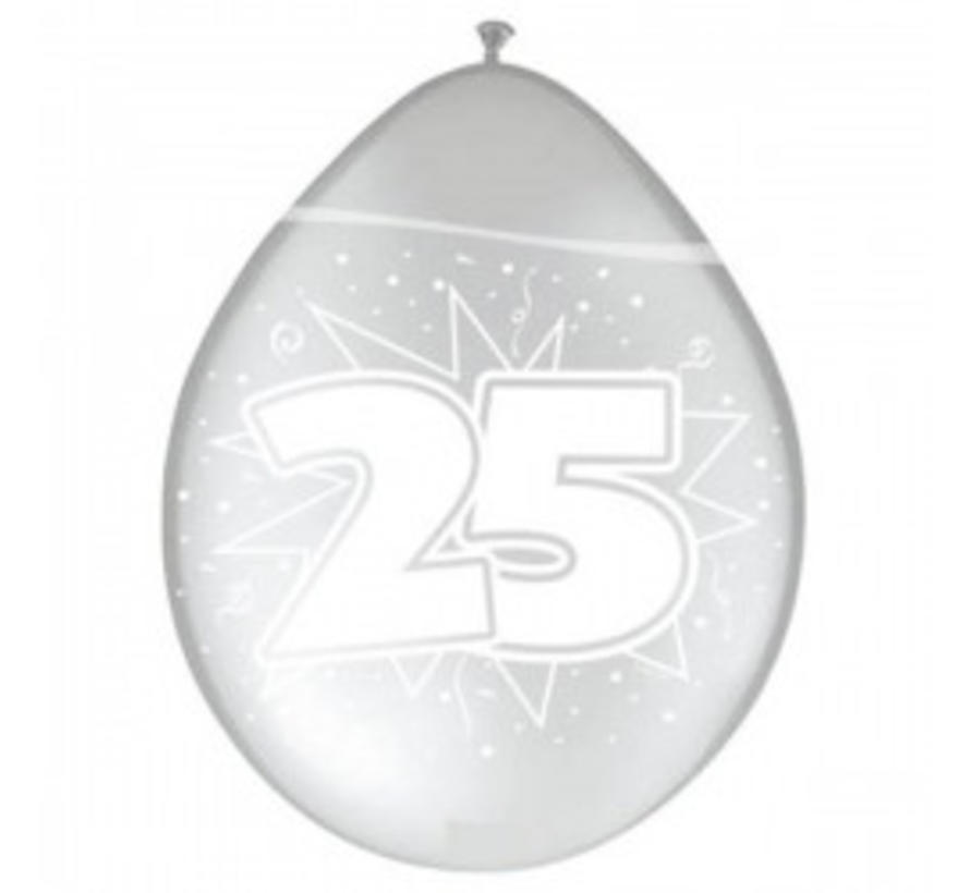 Verjaardag Ballonnen 25 Jaar - Metallic zilver - 8 stuks