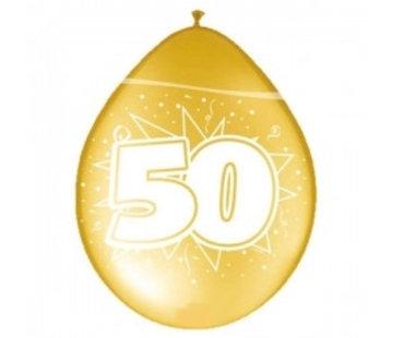 Verjaardag Ballonnen 50 Jaar 30cm - Metallic goud - 8 stuks