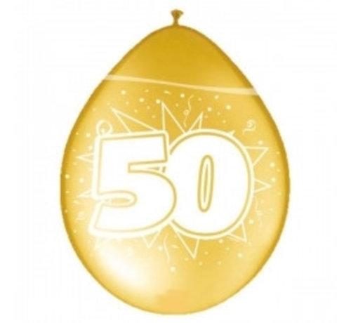 Verjaardag Ballonnen 50 Jaar - Metallic goud - 8 stuks