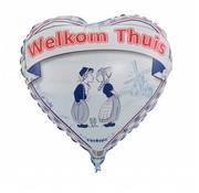 Welkom thuis hartjes ballon - 43 cm