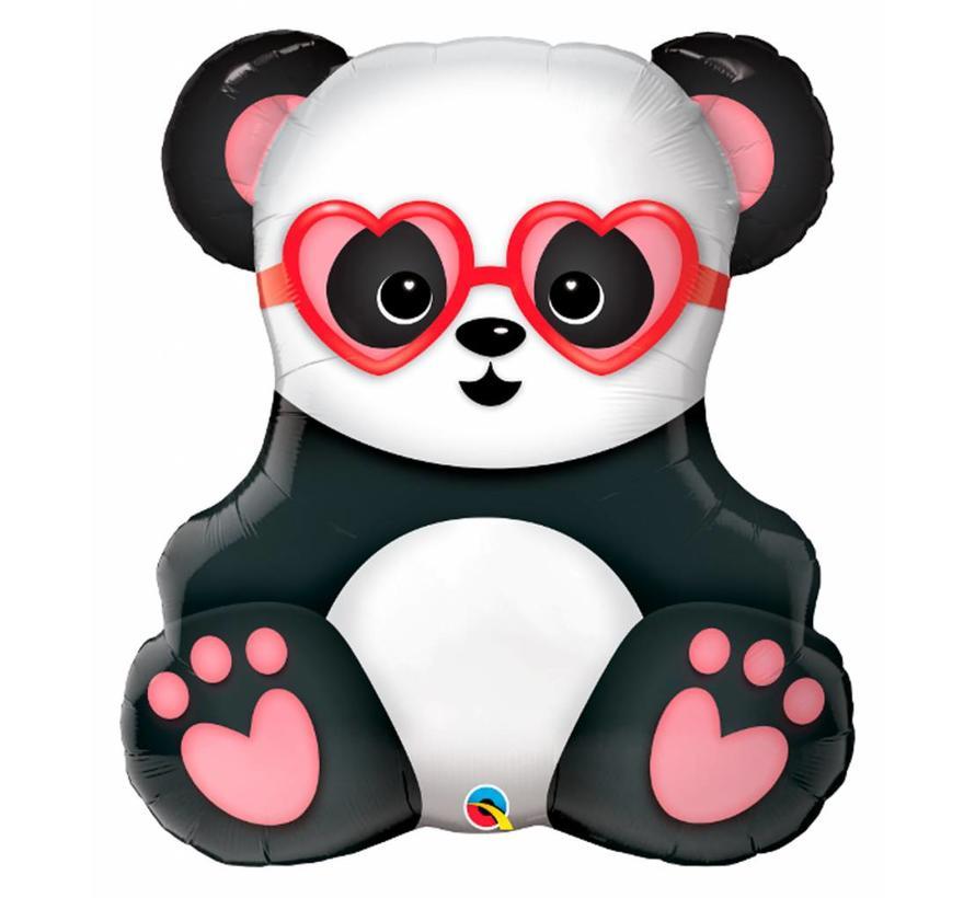 Ballonfiguur Panda met Hartjesbril 81cm - Per Stuk