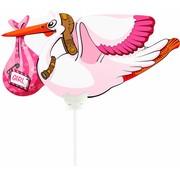 Folieballon Ooievaar Meisje 25cm - Per Stuk