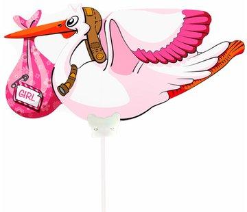 Folieballon Ooievaar Meisje - per stuk