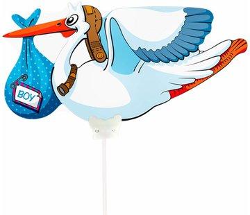Folieballon Ooievaar Jongen 25cm - Per Stuk