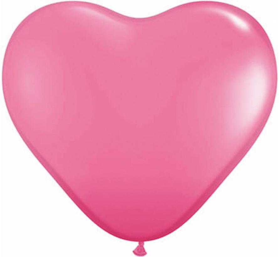 Hartjes Ballonnen Fel Roze - 100 stuks