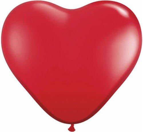 Hartjes Ballonnen Ruby Rood 28cm - 100 stuks