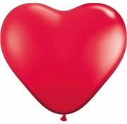 Hartjes ballonnen Felrood 30 cm - 100 stuks