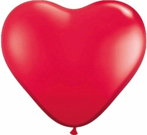 Hartjes ballonnen Felrood 30cm - 100 stuks