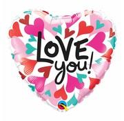 Love You Hearts Hartjes ballon - per stuk