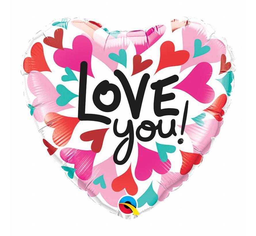 Hartjes Ballon Love You Hearts - per stuk