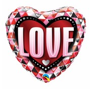 Hartjes Ballon Love Triangle 45cm - Per Stuk