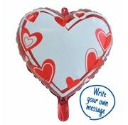 Hartjes Ballon Schrijfbaar - per stuk