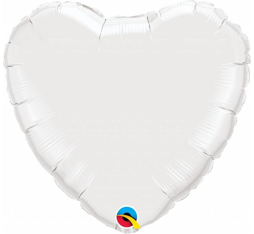 Hartjes Ballon Wit XL 45cm - Per Stuk
