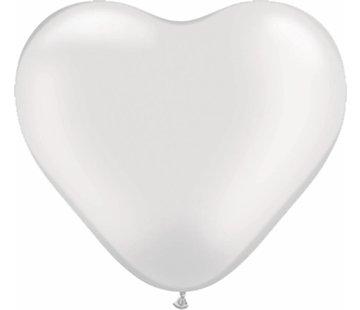 Hartjes Ballonnen Parelwit 15cm - 100 stuks