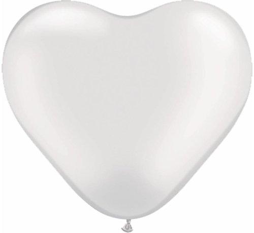 Hartjes Ballonnen Parelwit 6 inch - 100 stuks