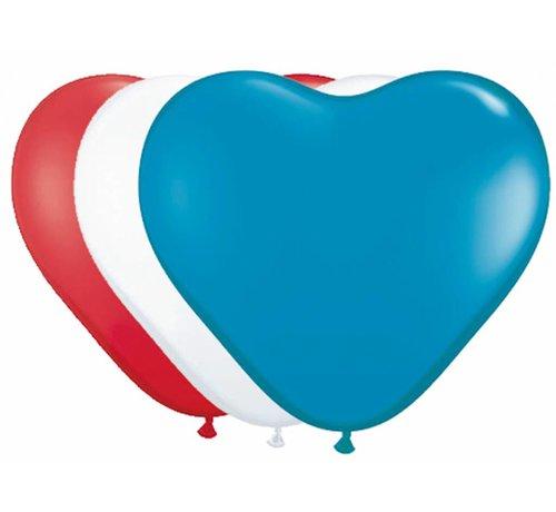 Hartjes Ballonnen Multicolor 30cm - 8 stuks