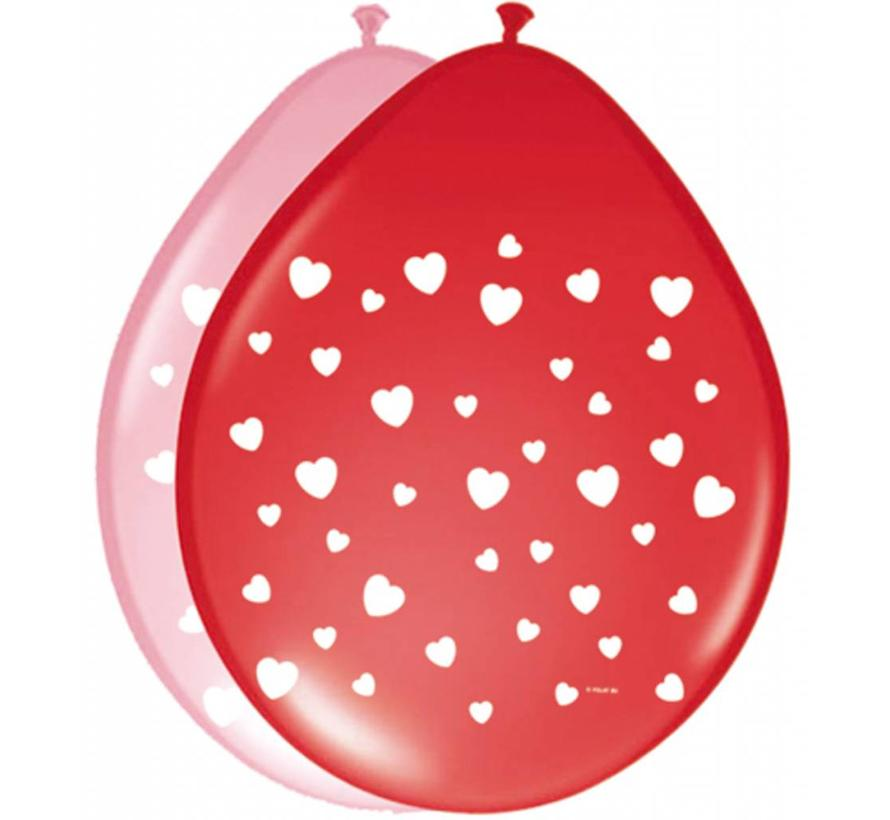 Hartjes ballonnen Gekleurd & Deco - 8 stuks