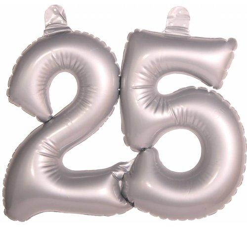 Opblaascijfer 25 Zilver - per stuk