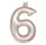 Opblaascijfer 6 Zilver - 36cm
