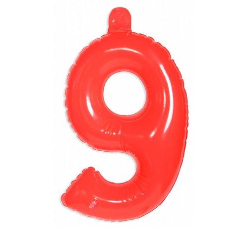 Opblaascijfer 9 Rood - 36cm
