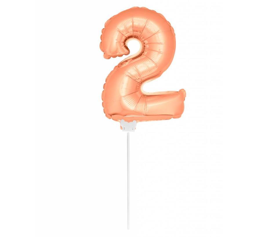 Cijfer Ballon Rosé Goud 2 - 36cm