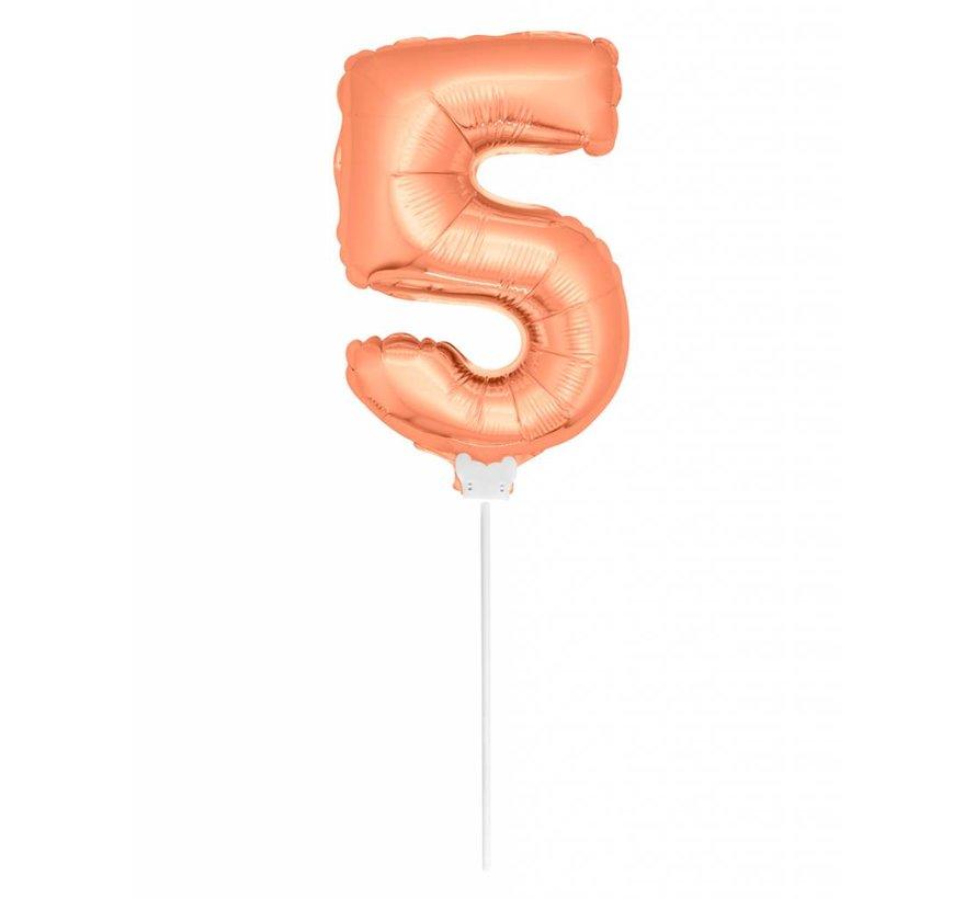 Cijfer Ballon Rosé Goud 5 - 36cm