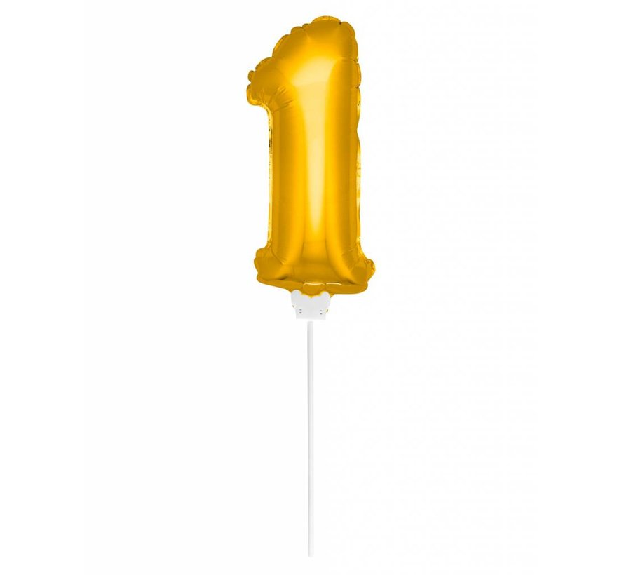 Cijfer Ballon Goud 1 - 36cm