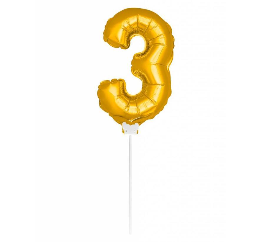 Cijfer Ballon Goud 3 - 36cm