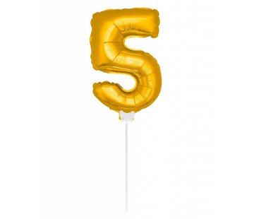 Cijfer Ballon Goud 5 - 36cm