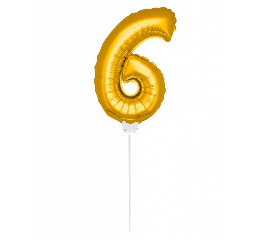 Cijfer Ballon Goud 6 - 36cm