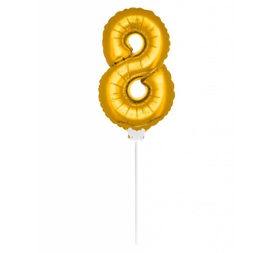 Cijfer Ballon Goud 8 - 36cm