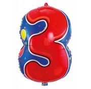 Folatexballon cijfer 3 - per stuk