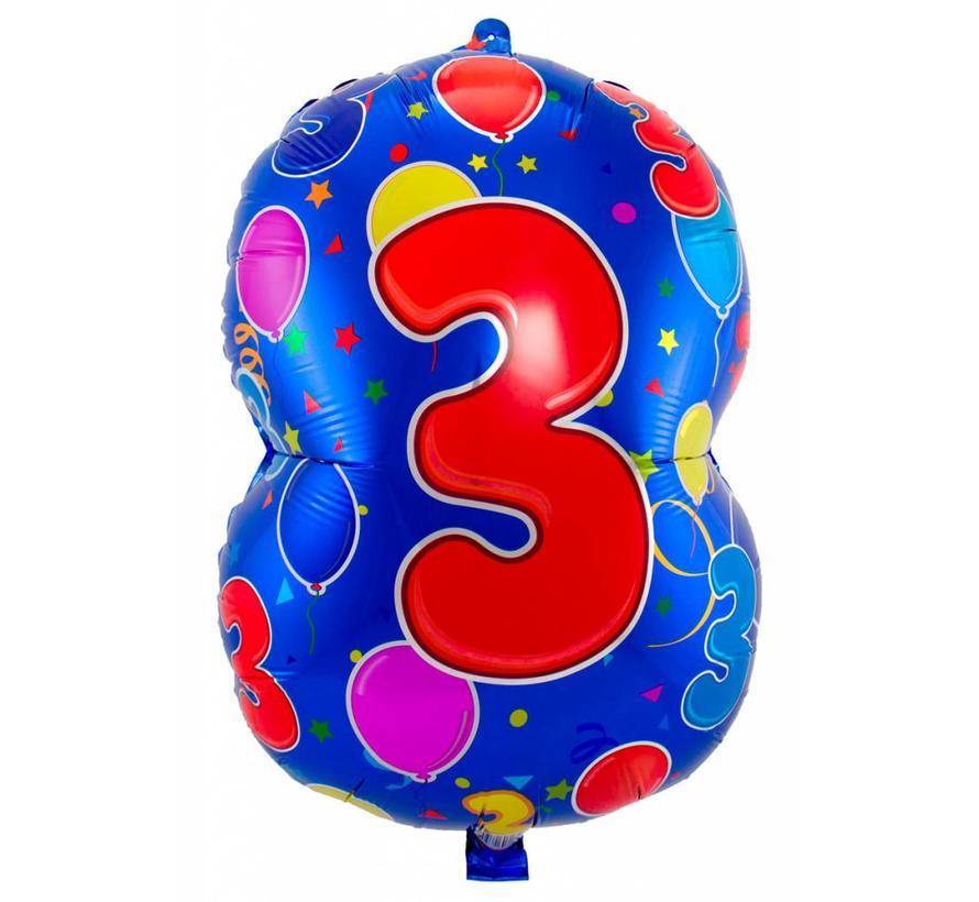 Latex Ballon Cijfer 3 - 56cm