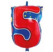Folatexballon cijfer 5 - per stuk
