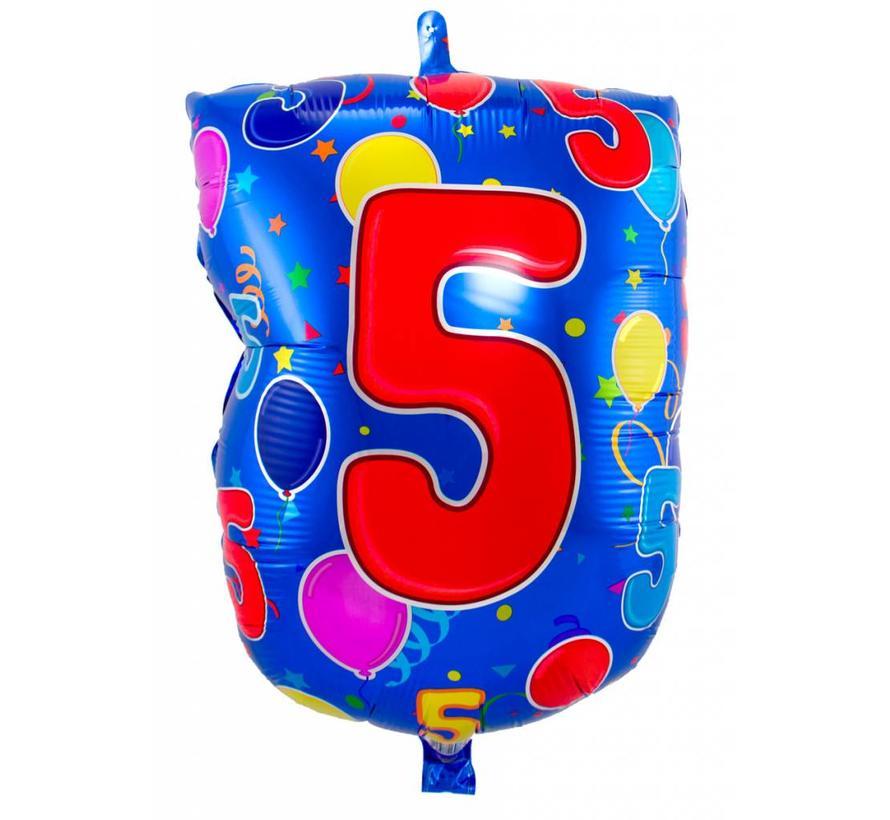 Latex Ballon Cijfer 5 - 56cm