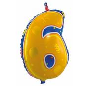 Folatexballon cijfer 6 - per stuk