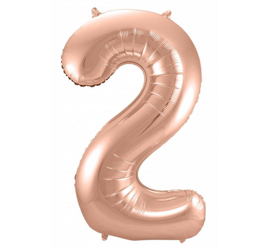 Cijfer Ballon Rosé Goud 2 - 86cm