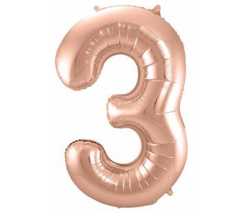 Cijfer Ballon Rosé Goud 3 - per stuk