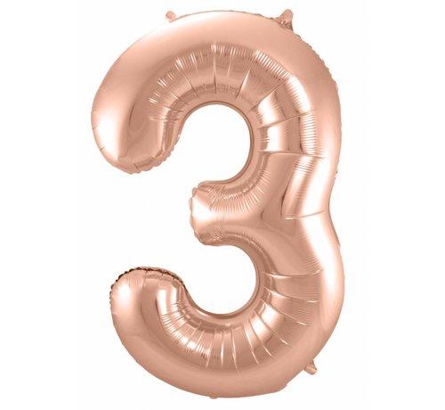 Cijfer Ballon Rosé Goud 3 - 86cm