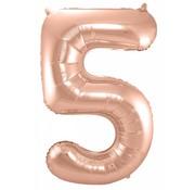 Cijfer Ballon Rosé Goud 5 - per stuk