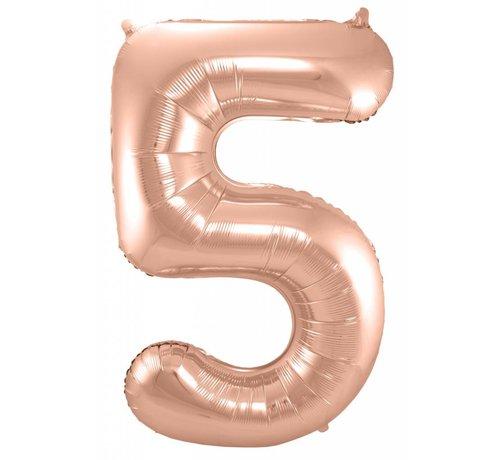 Cijfer Ballon Rosé Goud 5 - 86cm