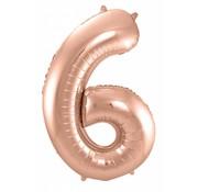 Cijfer Ballon Rosé Goud 6 - 86cm