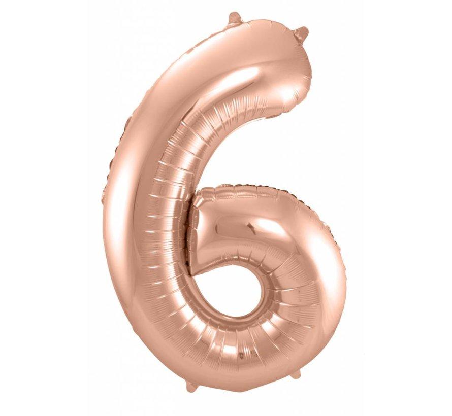 Cijfer Ballon Rosé Goud 6 - per stuk