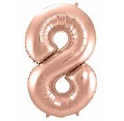 Cijfer Ballon Rosé Goud 8 - 86cm