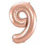 Cijfer Ballon Rosé Goud 9 - per stuk