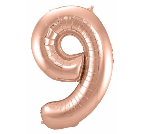 Cijfer Ballon Rosé Goud 9 - 86cm